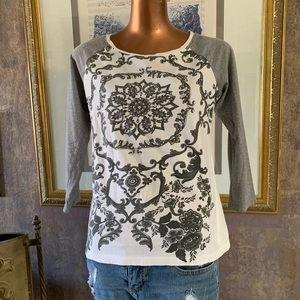 White Tee With Gray Scroll & Bling S